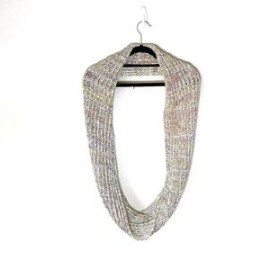 Loft Rainbow White Knitted Infinity Scarf Circle